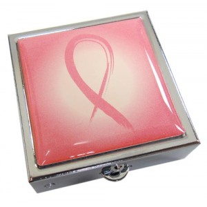 Breast Cancer Pink Ribbon Pill Box -Pink Ribbon
