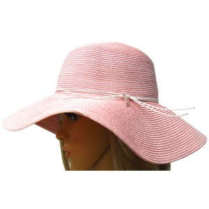Pink Sun Hat with Pink Ribbon Charm