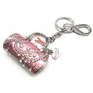 Pink Ribbon Crystal Handbag Key Chain with Mother Charm