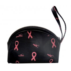 Black Coin Purse with Pink Ribbon