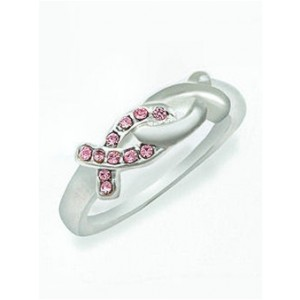 Pink Ribbon Cz Ring