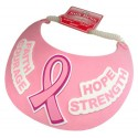 Breast Cancer Pink Ribbon Form Sun Visor w/ Message