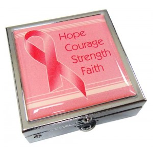 "Breast Cancer Pink Ribbon Pill Box -""Hope, Courage, Strength, Faith"""