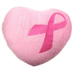Pink Ribbon Heart Pillow
