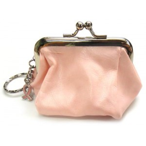 Breast Cancer Pink Coin Purse with Key Chain