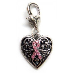 Breast Cancer Silver Tone Pink Ribbon Rhinestone Heart Charm / Pendant