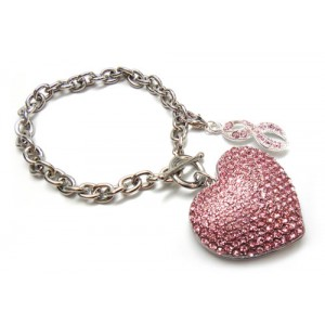 Pink Ribbon Crystal Heart Toggle Bracelet