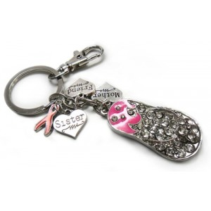 Pink Flip Flop Key Chain w/ Pink Ribbon, Mother, Sister & Friend Charms