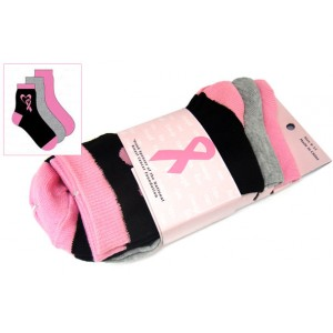 Breast Cancer Awareness 3 Pack Socks -Style 05