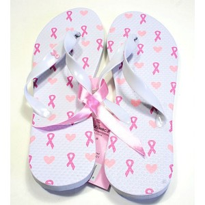 Pink Ribbon Flip Flops - White - Hearts