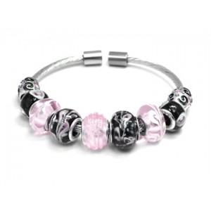 Pink and Black Glass Beads Bangle Bracelet