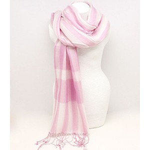 Pink &amp; White Checked Scarf
