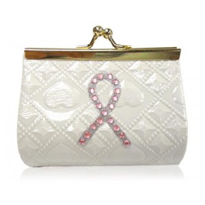 Pink Ribbon White Coin Purse