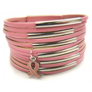 Multi-Layer Leather Bracelet w/Pink Ribbon Charm -Pink
