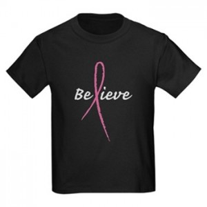 &quot;Believe&quot; Pink Ribbon T Shirt