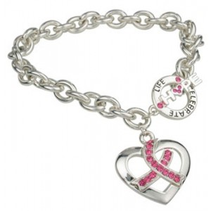 &quot;Heart of Hope, Celebrate Life&quot; Pink Ribbon Toggle Bracelet