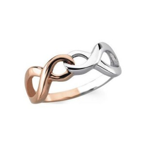 Pink Ribbon Two Tone Ribbon Ring