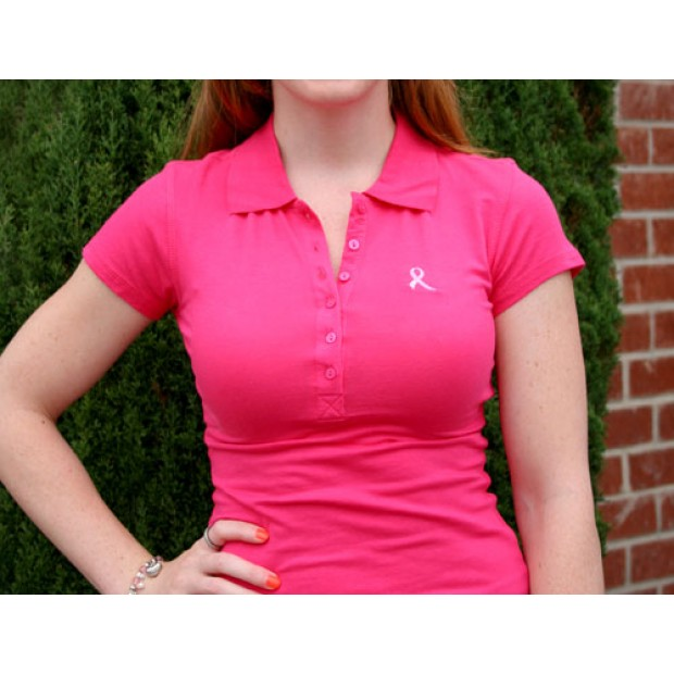 Breast Cancer Pink Ribbon Polo Shirts | Pink Ribbon Ladies Polo ...
