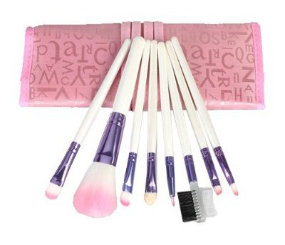 8pcs Eyeshadow Makeup Pink Brush Set with Pink Ribbon Case