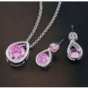 Pink Teardrop Pendant & Earring Set