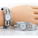 White Face Rhinestone Watch