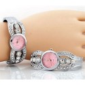 Pink Face Rhinestone Watch