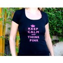 Keep Calm and Think Pink Round Neck T-Shirt - Black