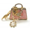 Pink Ribbon Key Chain - Pink & Gold Tone Handbag