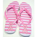 Pink Ribbon Flip Flops - White - Stripes
