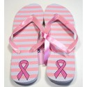 Pink Ribbon Flip Flops - Stripes