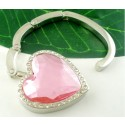 Folding Pink Gem Heart Hand Bag Purse Hangers