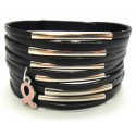 Multi-Layer Leather Bracelet w/Pink Ribbon Charm -Black