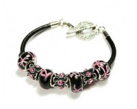 Black Leather Toggle Bracelet
