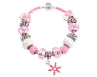 Snowflake Charm Christmas Theme Pink Leather Bracelet
