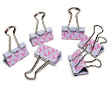 Pink Ribbon Binder Clips Set of 6