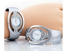 Silver Face Cuff Watch