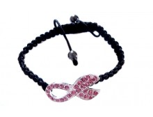 Pink Crystal Breast Cancer Awareness Ribbon Black Bracelet