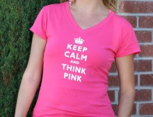 Keep Calm and Think Pink V-Neck T-shirts -Pink