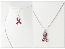 Fuchsia Pink Ribbon Crystal Necklace and Earrings Set Large
