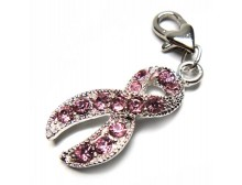 Silver Plated Pink Ribbon Breast Cancer Awareness Rhinestone Charm