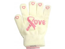 "Ladies Non-Skid Pink Ribbon Gloves ""LOVE"" - Style 01"