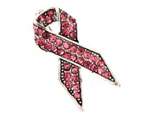Pink Rhinestones Breast Cancer Awareness Ribbon Brooch Pin 1 1/4""