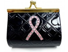 Pink Ribbon Black Coin Purse