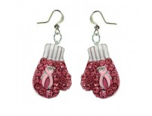 Pink Ribbon Boxing Glove Dangling Earrings
