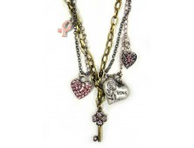 Multi-Strand Pink Ribbon Charm Necklace &amp; Dangling Earrings Set