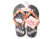 Pink Ribbon Flip Flops - Think Pink