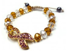 Gold Breast Cancer Awareness Cord Bracelet with Crystal Beads
