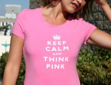 Keep Calm and Think Pink Round Neck T-Shirt -Pink