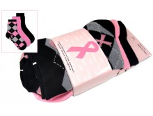 Breast Cancer Awareness 3 Pack Socks -Style 06
