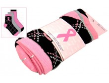 Breast Cancer Awareness 3 Pack Socks -Style 12